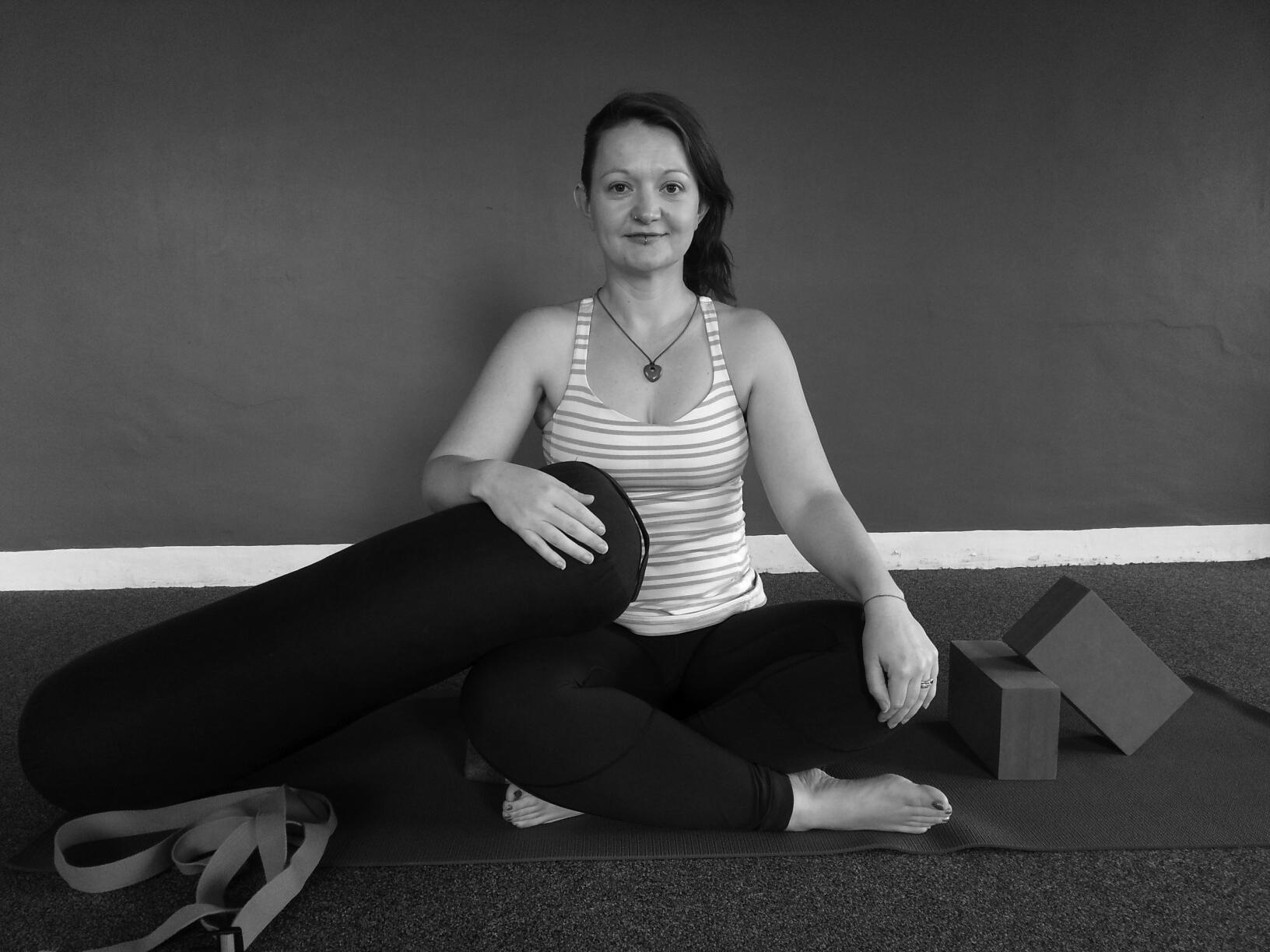 Rachel on yoga mat
